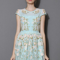 Fairland Blue Floral Embroidered Organza Dress  Blue