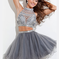 Beaded Embellished Crop Top Tulle Skirt Rachel Allan 6646 Homecoming Dress