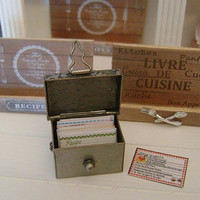 Rustic RECIPE BOX with 21 Index Cards - Dollhouse Miniature 1:12 Scale