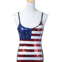 Anna-Kaci S/M Fit Metallic Red White Blue Patriotic America Fitted Cami Tank Top