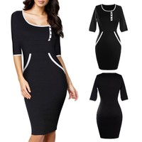 Elegant Sexy Pinup Rockabilly Half Sleeve Sheath Pencil Dress