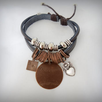 Custom Leather Bracelet with Baseball Charm and Jersey Number