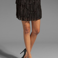 Haute Hippie Suede Asymmetrical Tiered Skirt in Black from REVOLVEclothing.com