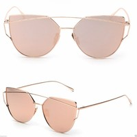 2017 GENTLE LOVE PUNCH SUNGLASSE BLACK SILVER GOLD FRAME ALL PINK MIRRORED LENS