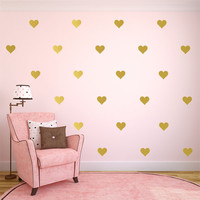 """Gold Heart Decal,  Gold Heart Decals,  Heart Wall Decals, Gold Wall Decal, Gold Wall Decor, Gold Wall Art, Available 2"""" thru 12"""" Hearts"""