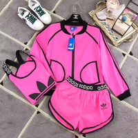 """Adidas"" Women Casual Clover Letter Print Sleeveless Vest Shorts Sunscreen Clothes Coat Set Three-Piece Sportswear"