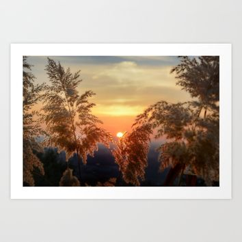 """""""Sun through the fields"""" Sunset at the mountains Art Print by Guido Montañés"""