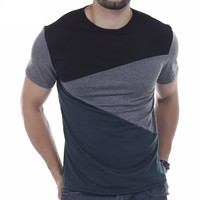Male Short Sleeve O-Neck  Simple splicing