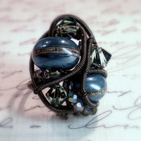 Firefly Steampunk Ring The Verse Lampwork by ClassicKeepsakes