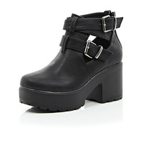 River Island Girls black double buckle clumpy boot