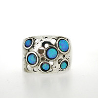 Handcrafted 925 sterling silver Ring, Opal, Unique Design By Amir Poran, Made in Israel