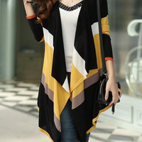 Striped Color Block Collarless Knitted Cardigan