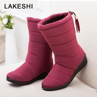 QUANZIXUAN2018 New Women Boots Winter Ankle Boots Female Waterproof Warm Women Snow Boots Women Shoes Woman Warm Fur Botas Mujer