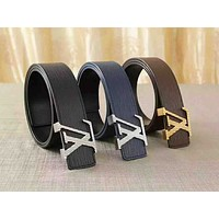 Louis Vuitton LV Fashion new water ripple couple high quality belt three color