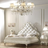 Upholstered imitation leather double bed LARA Glamour Collection by Gotha Luxury Italian Style