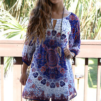 Bright View Medallion Paisley Print Sheath Dress With Front Keyhole