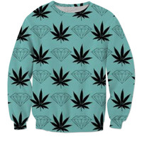 Pot leaf diamond teal sweatshirt