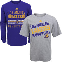 Los Angeles Lakers adidas Boy's Three-In-One Combo T-Shirt Set - Purple/Gray