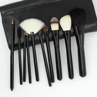 Red Black 10pcs Makeup Brushes Cosmetic Powder Eye Shadow Brush St Make Up Brush Tool Leather Case