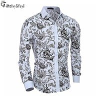 Luxury Brand Shirts for Men 2017 Fashion Printed Slim Long Sleeve Shirts for Boys Chemise Homme Casual Camisas Hombre