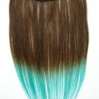 Tressecret Ombre Tail Dip-Dye Clip In Extension, 16 inches 18 inches, Dark Brown and Teal Blue
