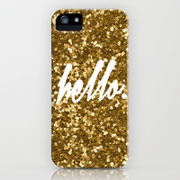 Hello Gold iPhone & iPod Case by Pink Berry Pattern