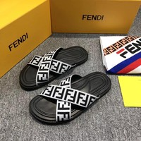 Fendi Black and white FF cross slippers