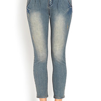 FOREVER 21 Pleated High-Waisted Jeans Denim Washed