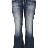 Plus Size - Vigoss Slim Boot Embellished Pocket Jeans - Dark Sandblast