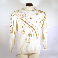 Flashy Beaded Sweater Vintage 1980s Knit Oversize White Ugly Christmas Holiday Tacky