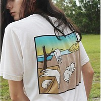 Ripndip Trending Women Men Stylish Beach Hanging Tree Cat Print Short Sleeve Pure Cotton T-Shirt Top White I13551-1