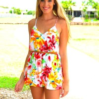 Bright Floral Print Sleeveless Playsuit with Cross Open Back