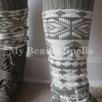 Aztec boot socks for Women short knited boot warmers tribal print boot legwarmers Color Light Gray And White(item no.10Y)