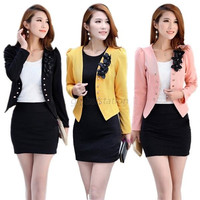 Office Formal Lady Women Flower Slim Short Blazer Jacket Casual Autumn Suit Coat = 1930067780