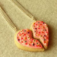 valentine's day best friends sugar cookie half heart best friend necklaces bff