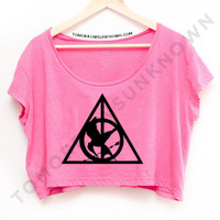 Deathly Hallows inspired crop top tee belly shirt OS