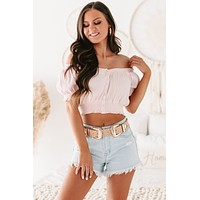 Esther Puff Sleeve Button-Front Crop Top (Light Pink)