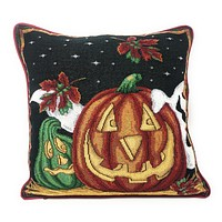 """DaDa Bedding Halloween Pumpkins Throw Pillow Cover Tapestry Cases 16"""" x 16"""" (12914)"""