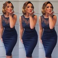 Navy Blue Straight Short Cocktail Dresses for Girls Sheer Tulle Appliques Beaded Tank Party Dresses