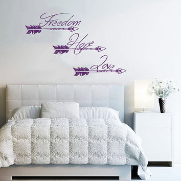 Wall Decals Quotes Freedom Hope Love Arrow Quote Vinyl Sticker Decal Art Home Decor Feather Arrows Hipster Fashion Bohemian Bedroom AN709