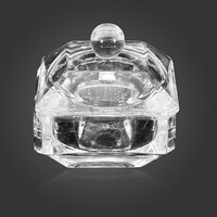 DANCINGNAIL Glass Crystal Cup Acrylic Nail Art Liquid Powder Container Dish With Lid