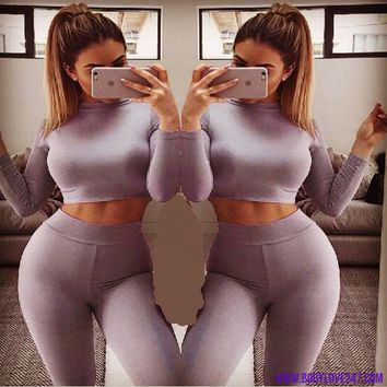 PLUS SIZE Stretchable Cotton Workout Skinny Suit Set  2 Piece