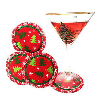 Christmas Drink Coasters , Christmas Coasters, Christmas Holiday Decor, Drinking Glasses, Christmas Holiday Mug Rug- Gifts Under 15, 20, 25