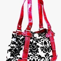 Large Black and White Floral Damask Tote - Pink Lining and Strap