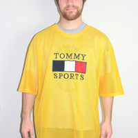 1990s Vintage Men's Active Tommy Hilfiger T shirt, Retro Athletic Mesh Tee, Yellow Vintage Tommy Sports wear