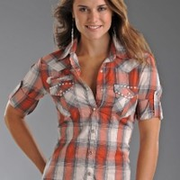 Rock & Roll Cowgirl LS Sheer Plaid w EmbroideryPurchase