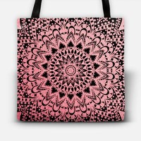 Pink Night Mandala Tote Bag