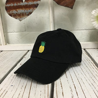 New Pineapple Embroidered Black Polo Baseball Cap Low Profile Curved Bill