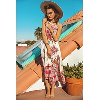 """Cami Top """"Hotel Paradiso"""" Boho Maxi Dress Pink Print Long Flowing Beach Paradise Gown Sizes Small Medium Or Large"""
