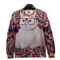 Pink Queen Pullover 3d Design Glasses Cat Print White Sweatshirt Sweater Hoodies (L)